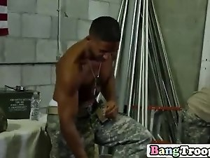 Young troops remove their uniforms and engage in steamy gay orgy
